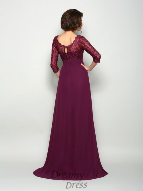 3/4 Sleeves V-neck Sweep/Brush Train Chiffon Mother of the Bride Dress