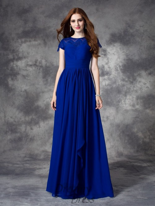 A-line Bateau Lace Floor-length Chiffon Bridesmaid Dress