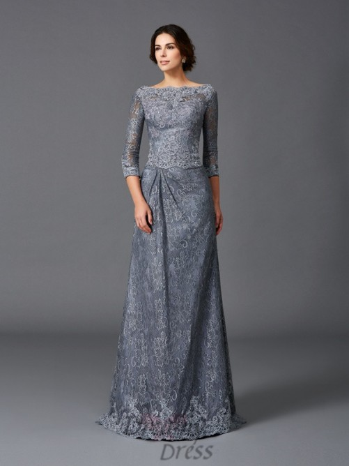 A-line Bateau Lace Sweep/Brush Train Net Mother of the Bride Dress