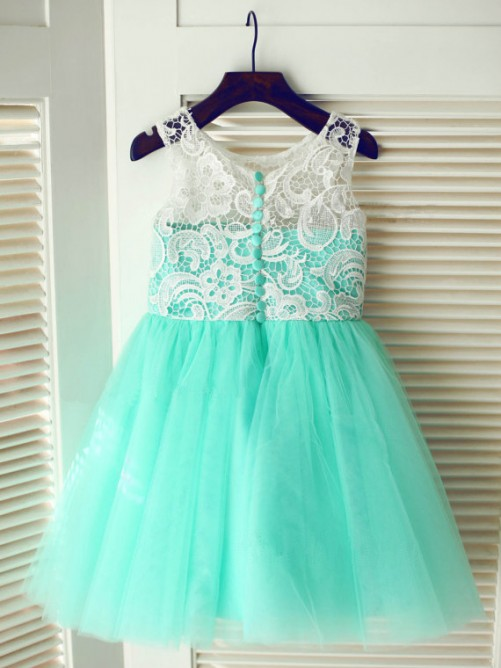 A-line Tea-length Tulle Flower Girl Dresses with Lace