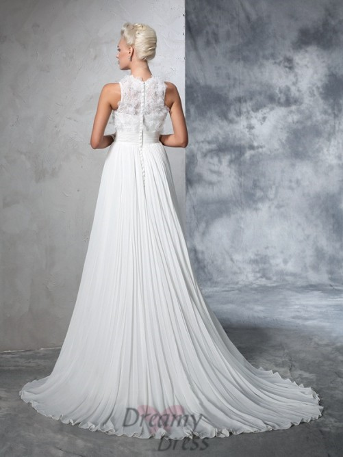A-line High Neck Chiffon Court Train Wedding Dress