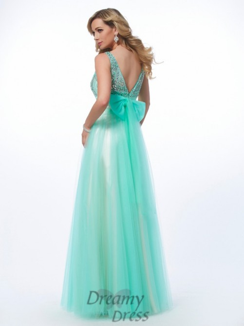 A-Line/Princess Bateau Floor-Length Net Dress