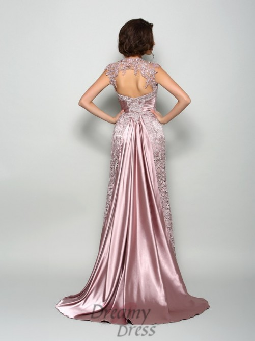 A-Line/Princess Elastic Woven Satin High Neck Court Train Mother of the Bride Dress