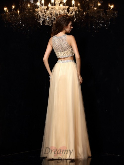 A-Line/Princess High Neck Net Floor-Length Dress