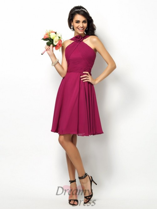 A-Line/Princess High Neck Short/Mini Chiffon Bridesmaid Dress