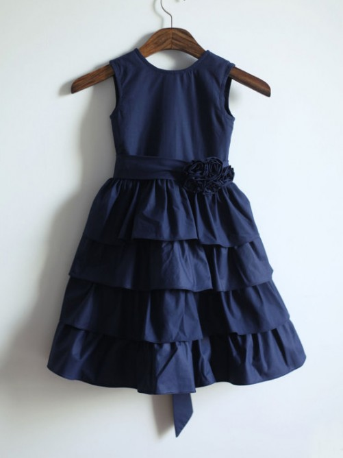 A-line/Princess Jewel Tea-length Taffeta Flower Girl Dresses with Sash/Ribbon/Belt