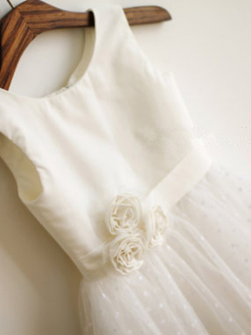 A-line/Princess Jewel Tea-length Tulle Flower Girl Dresses with Hand-made Flower
