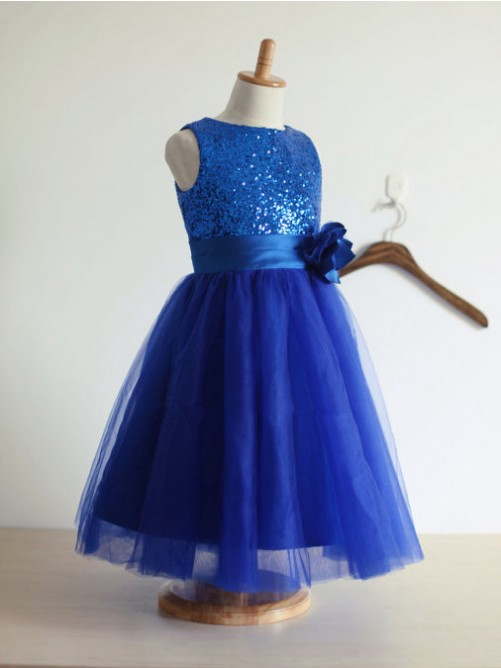 A-line/Princess Jewel Tulle Tea-Length Flower Girl Dresses with Hand-made Flower