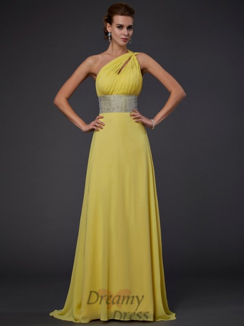 A-Line/Princess One-shoulder Floor-length Chiffon Dress