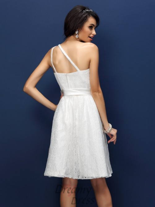 A Lineprincess One Shoulder Lace Shortmini Lace Bridesmaid Dress
