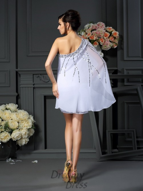 A-Line/Princess One-Shoulder Short/Mini Chiffon Mother of the Bride Dress