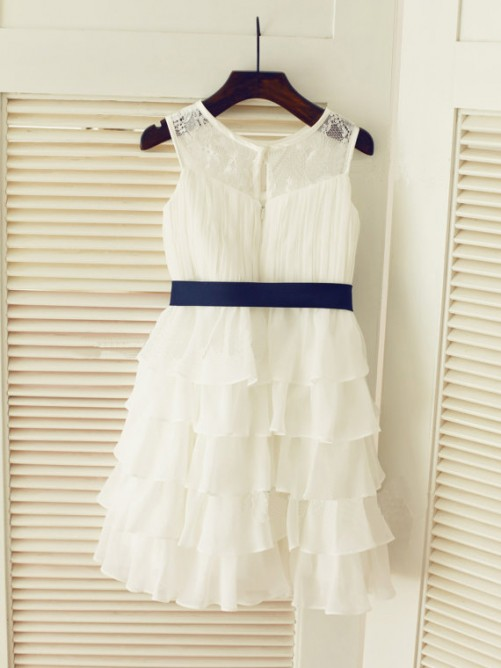 A-line/Princess Scoop Tea-length Chiffon Flower Girl Dresses with Ruched