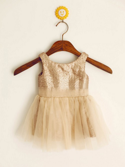 A-line/Princess Scoop Knee-length Flower Girl Dresses with Sequins