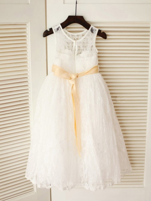 A-line/Princess Scoop Ankle-Length Lace Flower Girl Dresses with Sash/Ribbon/Belt
