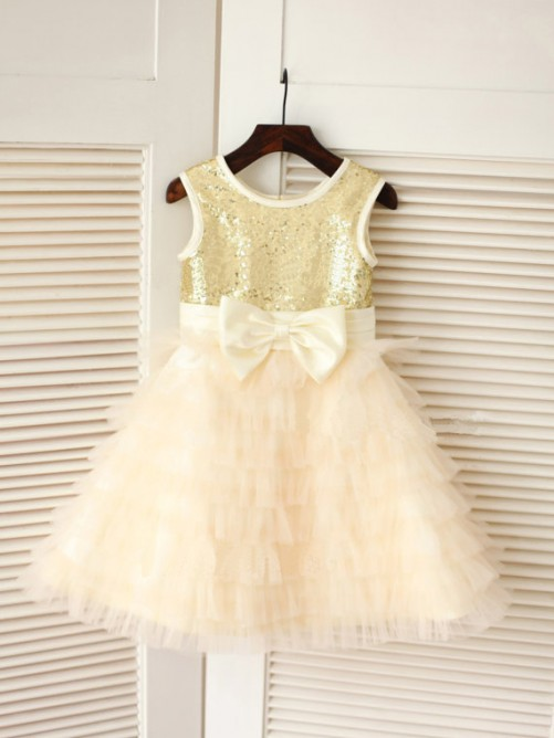 A-line/Princess Scoop Tea-length Tulle Flower Girl Dresses with Bowknot