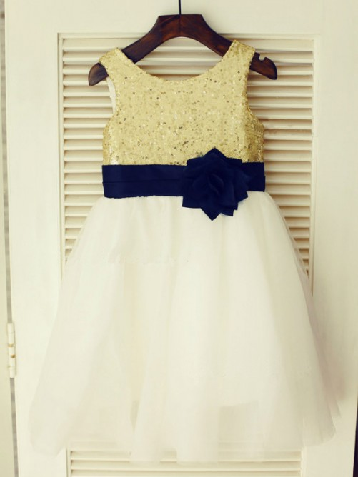A-line/Princess Scoop Tea-length Tulle Flower Girl Dresses with Hand-made Flower