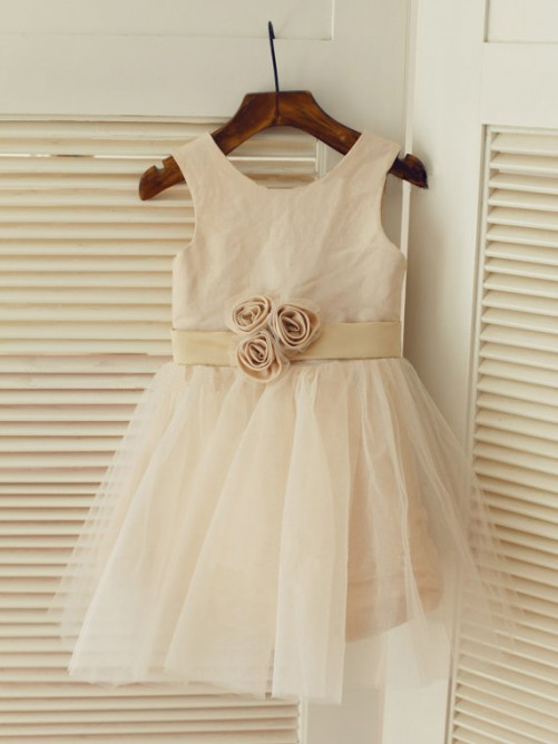 A-line/Princess Scoop Tea-length Tulle Flower Girl Dresses with Sash/Ribbon/Belt