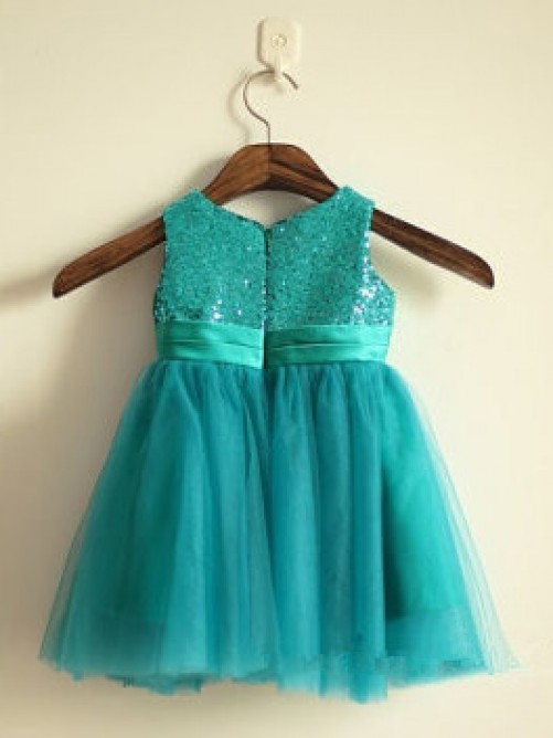 A-line/Princess Scoop Knee-length Tulle Flower Girl Dresses with Sequins