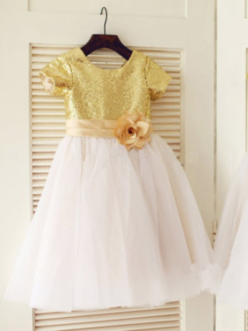 A-line/Princess Scoop Short Sleeves Knee-Length Tulle Flower Girl Dresses with Sequins