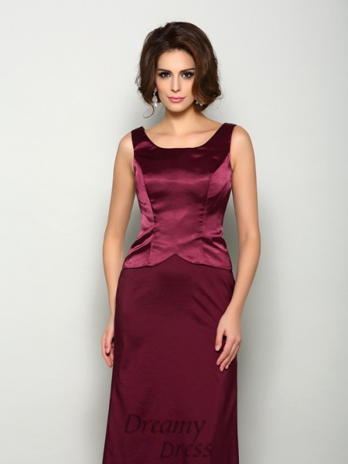 A-Line/Princess Square Elastic Woven Satin Long Mother of the Bride Dress