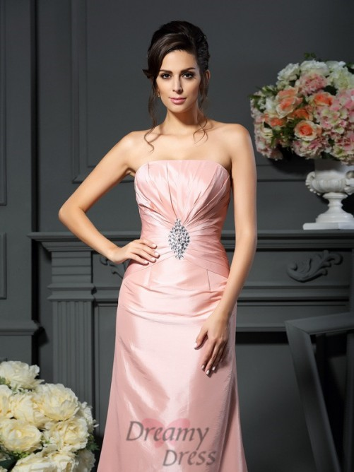 A-Line/Princess Strapless Floor-Length Taffeta Mother of the Bride Dress