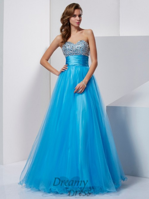 A-Line/Princess Strapless Sweetheart Floor-Length Tulle Dress