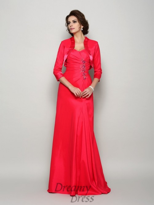 A-Line/Princess Straps Elastic Woven Satin Long Mother of the Bride Dress