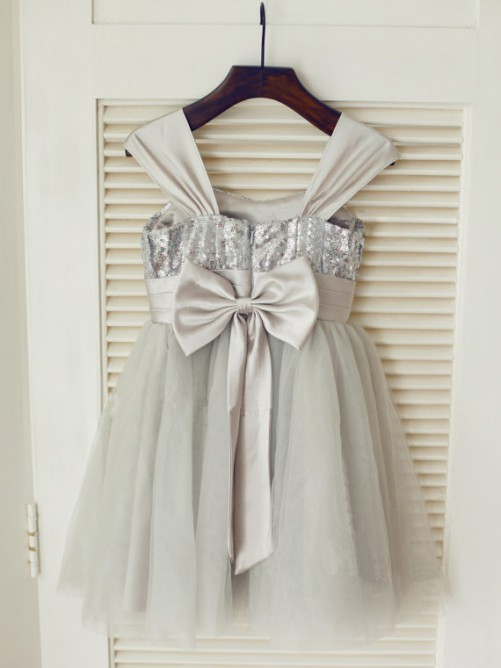 A-line/Princess Straps Tea-length Tulle Flower Girl Dresses with Bowknot