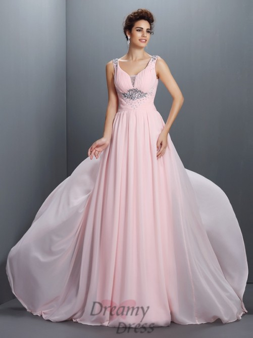 A-Line/Princess Straps Sweep/Brush Train Chiffon Dress