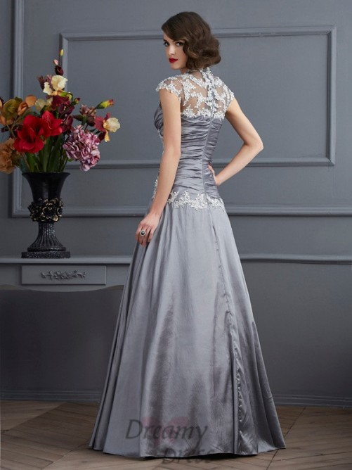 A-Line/Princess Sweetheart Short Sleeves Taffeta Floor-Length Dress