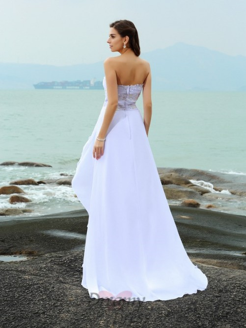A-Line/Princess Sweetheart Sweep/Brush Train Chiffon Wedding Dress
