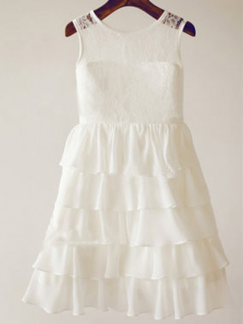 A-line Scoop Tea-length Chiffon Flower Girl Dresses with Lace