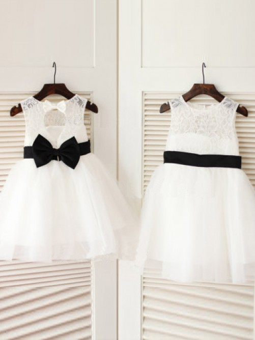 A-line Scoop Knee-Length Tulle Flower Girl Dresses with Bowknot