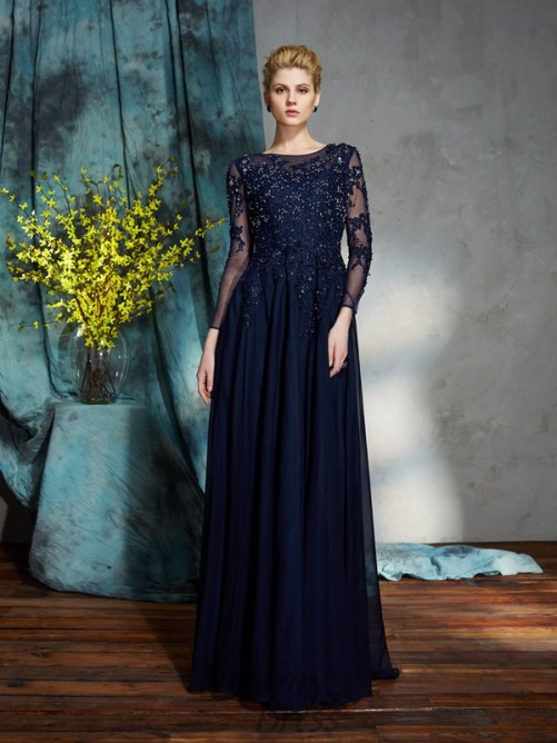 A-line Scoop Long Chiffon Mother of the Bride Dress