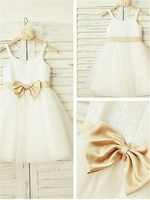 A-line Spaghetti Straps Knee-Length Tulle Flower Girl Dress