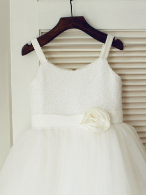 A-line Spaghetti Straps Tea-length Tulle Flower Girl Dresses with Hand-made Flower
