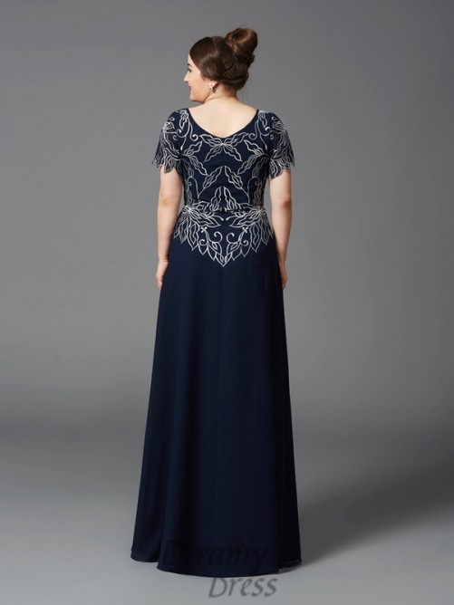 A-line Square Long Chiffon Plus Size Mother of the Bride Dress