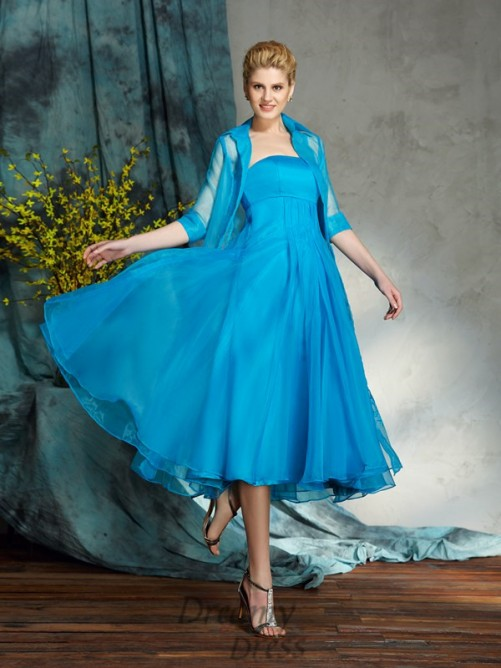 A-line Strapless Organza Knee-Length Mother of the Bride Dress
