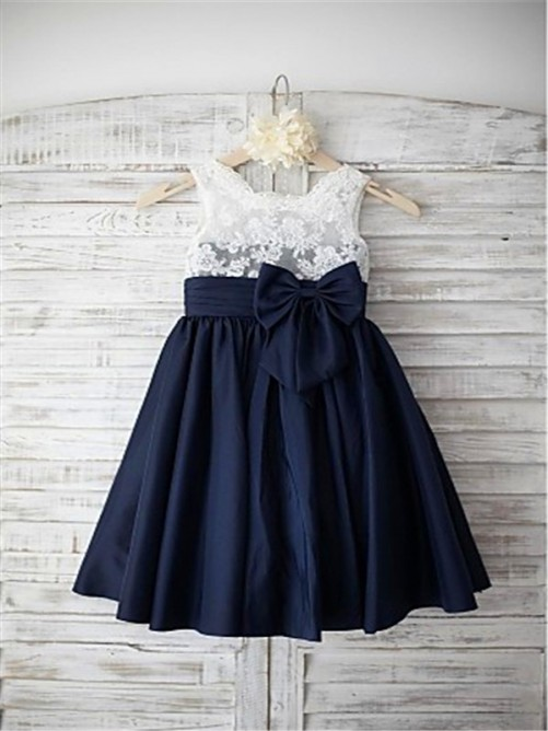 A-line Straps Tea-length Taffeta Flower Girl Dress