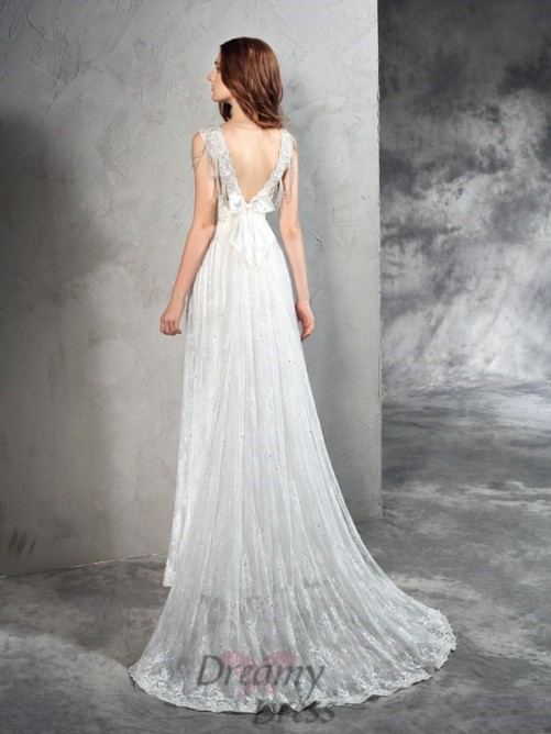 A-line Straps Lace Court Train Lace Wedding Dress