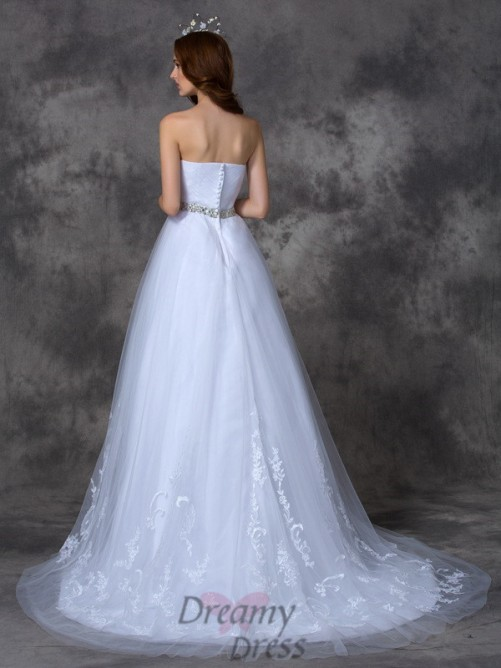 A-line Sweetheart Sweep/Brush Train Satin Wedding Dress