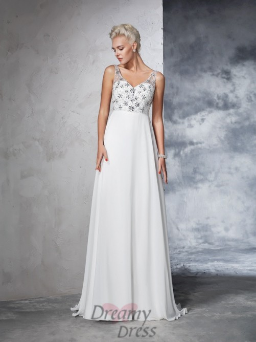 A-line V-neck Chiffon Sweep/Brush Train Wedding Dress