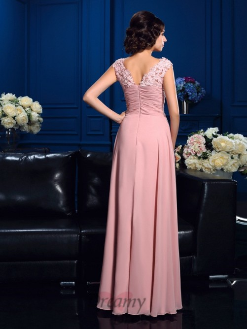 A-line V-neck Long Chiffon Mother Of The Bride Dress