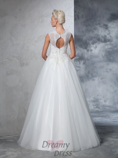 Ball Gown High Neck Net Long Dress