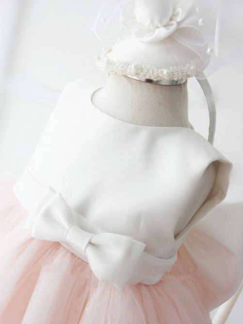 Ball Gown Jewel Tea-length Organza Flower Girl Dresses with Bowknot