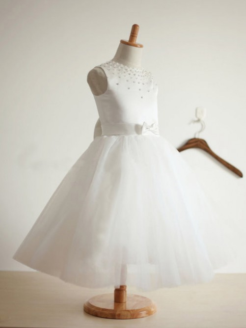 Ball Gown Jewel Tea-length Tulle Flower Girl Dresses with Bowknot