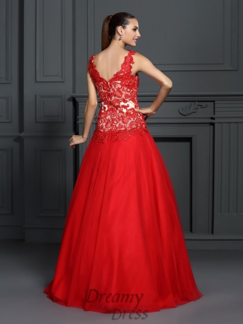 Ball Gown Lace Floor-Length Lace Dress