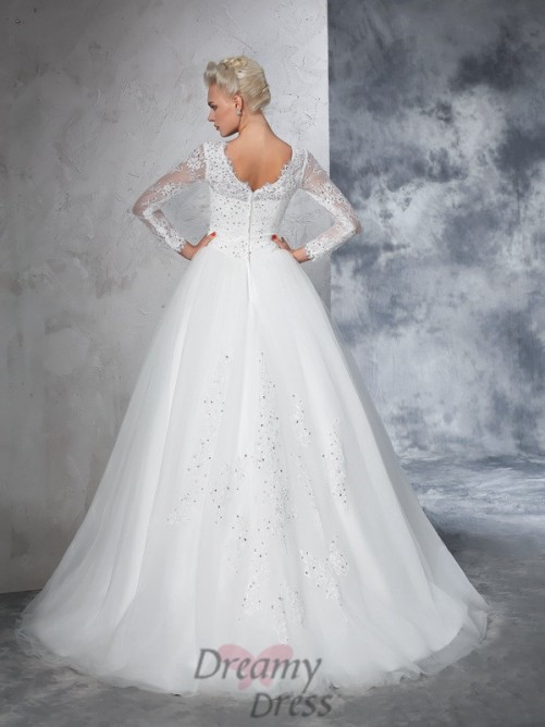 Ball Gown Long Sleeves Bateau Net Lace Sweep/Brush Train Wedding Dress