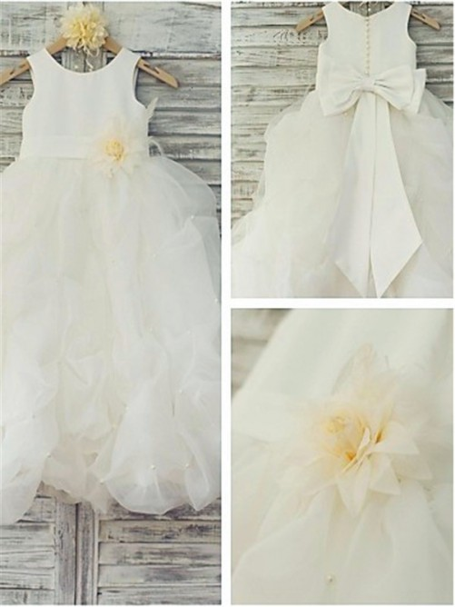 Ball Gown Scoop Floor-Length Organza Flower Girl Dress