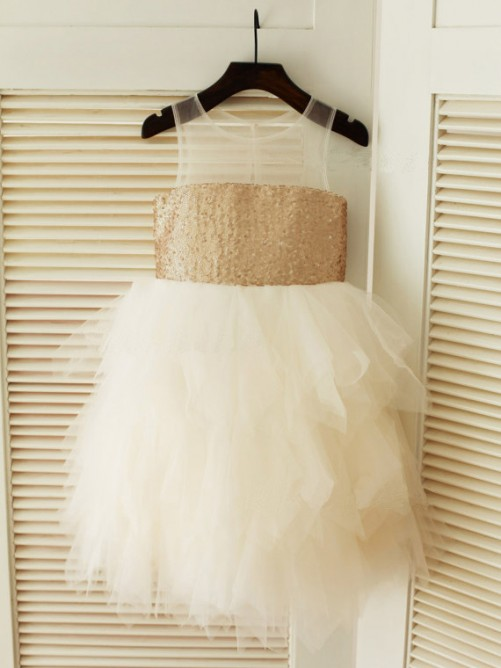 Ball Gown Scoop Tea-length Tulle Flower Girl Dresses with Ruffles